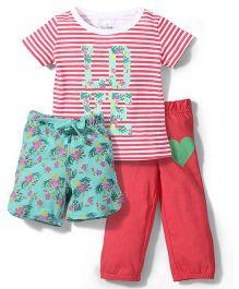 Babyhug T-Shirt Legging & Shorts Set - Pink Green