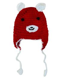 MayRa Knits Teddy Cap - Red & White