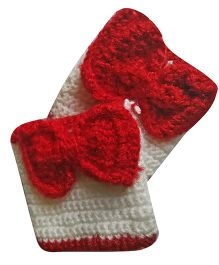 MayRa Knits Bow Mittens - Red & White