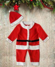 Mistletoe Santa One Piece Costume With Beanie - Red & White