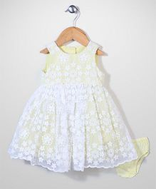 Mothercare Sleeveless Party Frock With Bloomer Floral Embroidery - Yellow