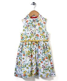 Mothercare Fruit Print Collared Frock - White & Multicolor
