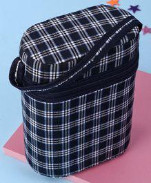 Insulated Double Bottle Bag Checks - Navy Blue & White