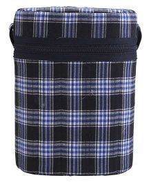 Insulated Double Bottle Bag Checks - Navy Blue & Black