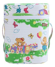 Insulated Double Bottle Bag Teddy & Butterfly Print - White & Green
