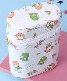 Insulated Double Bottle Bag Wish Print - White & Light Green