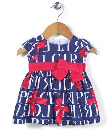 ToffyHouse Cap Sleeves Frock With Bow Applique - Navy