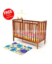 Wudplay Pansy Sliding Rail Baby Crib-Cot Bed with Free Mattress CR-020 SA - Matt - Sapeli