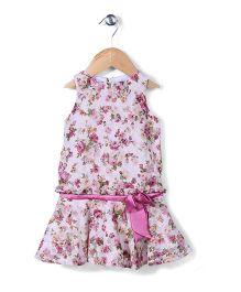 The Kidshop Flower Print Dress - Pink & Cream