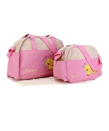 Mother Bag Set Duck Embroidery 3 Pieces - Cream & Pink
