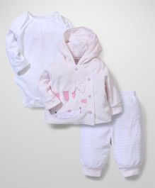 Mothercare Full Sleeves Clothing Set Pack Of 3 - Pink