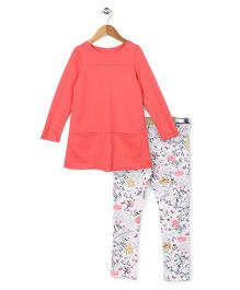 Mothercare Full Sleeves Long Top And Leggings Floral Print - Peach White