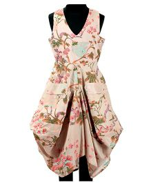 Pixi Floral Print Flared Dress With Pockets - Beige