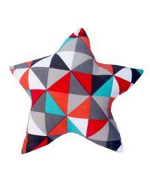 Kadambaby Star Shaped Small Cotton Cushion - Multi