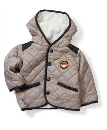 Swan Full Sleeves Hooded Quilted Jacket - Beige