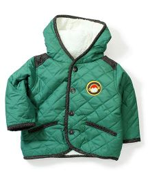 Swan Full Sleeves Hooded Quilted Jacket - Green