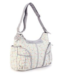 Mother Bag With Changing Mat Dotted Print - White and Grey