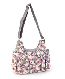 Mother Bag With Changing Mat Floral Print - White and Grey