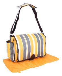 Stripe Mother Bag With Changing Mat - Grey Yellow