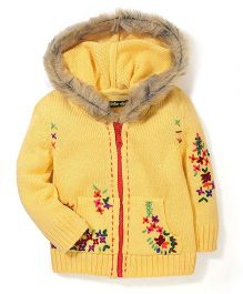 Yellow Apple Floral Knit Hooded Sweater - Yellow