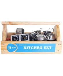 Little Genius Steel Kitchen Set With Wooden Container