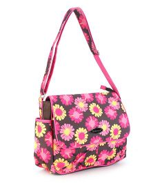 Mother Bag With Changing Mat Floral Print - Pink and Brown