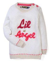 Yellow Apple Lil Angel Knit Design Sweater - White