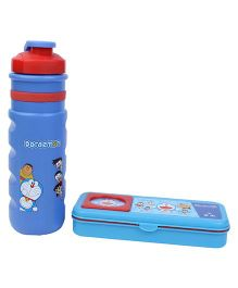 Doraemon Sipper Bottle and Pencil Box Set - Blue and Red