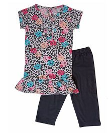 Earth Conscious Short Sleeves Organic Cotton Night Suit - Multi Color