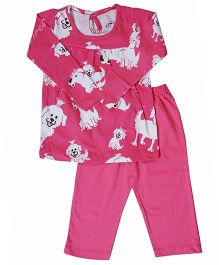 Earth Conscious Long Sleeves Organic Cotton Night Suit - Pink
