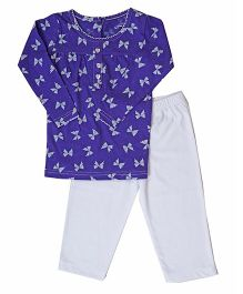 Earth Conscious Long Sleeves Organic Cotton Night Suit - White Blue