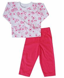 Earth Conscious Full Sleeves Organic Cotton Night Suit - White Pink