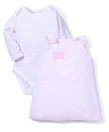 Mothercare Pinafore Dress With Onesies - Light Pink