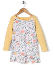 Mothercare Long Sleeves Floral Dress - Grey & Yellow