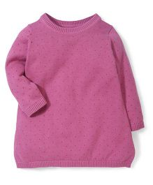 Mothercare Full Sleeves Dotted Sweater - Pink