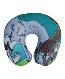 Orka Jungle Digital Printed U Neck Pillow Filled With Micro Beads