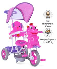 Babyhug Happy Hippo Tricycle With Canopy - Pink Purple