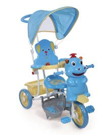Babyhug Happy Hippo Tricycle With Canopy - Blue