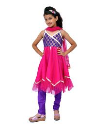Kilkari Sleeveless Kurti Churidar With Dupatta - Pink Purple