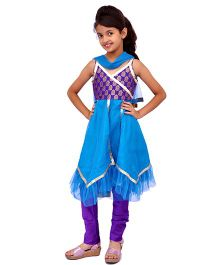 Kilkari Sleeveless Kurti Churidar With Dupatta - Blue Violet