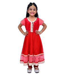 Kilkari Half Sleeves Kurti Churidar With Dupatta Sequin Work - Red