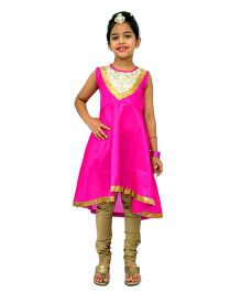 Kilkari Sleeveless Kurti Churidar With Dupatta - Pink Brown