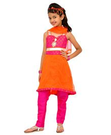 Kilkari Sleeveless Kurti Churidar With Dupatta - Orange Pink