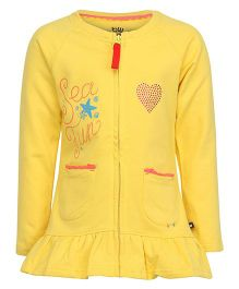 Bells and Whistles Full Sleeves Frill Hem Printed Sweatshirt - Yellow