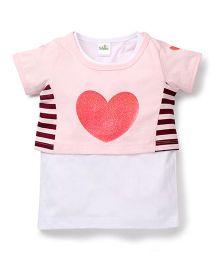 Marsala By Babyhug Half Sleeves Top Heart Print - Pink White
