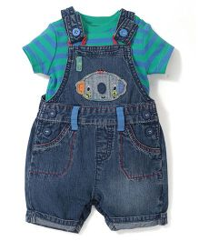 Mothercare Onesie With Dungaree Style Romper - Blue & Green