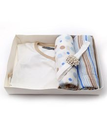 Mi Dulce An'ya Organic Cotton Gift Set Pack of 4 - White and Blue