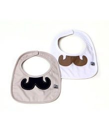 Mi Dulce An'ya Organic Cotton Bibs Moustache Desiggn Set of 2 - Beige White