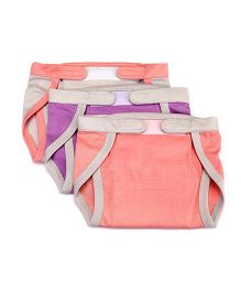 Mi Dulce An'ya Organic Cotton Nappies With Velcro Closure Set of 3 - Peach Purple Cream