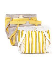 Mi Dulce An'ya Organic Cotton Nappies With Velcro Closure Set of 3 - Yellow Grey